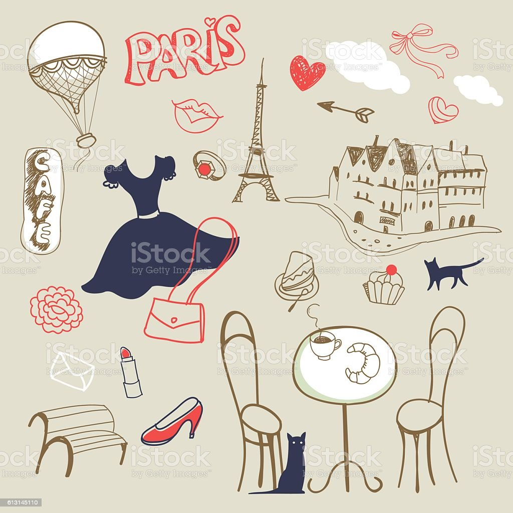 Set Of Hand Drawn Symbols Of Paris Stock Vector Art More Images Of