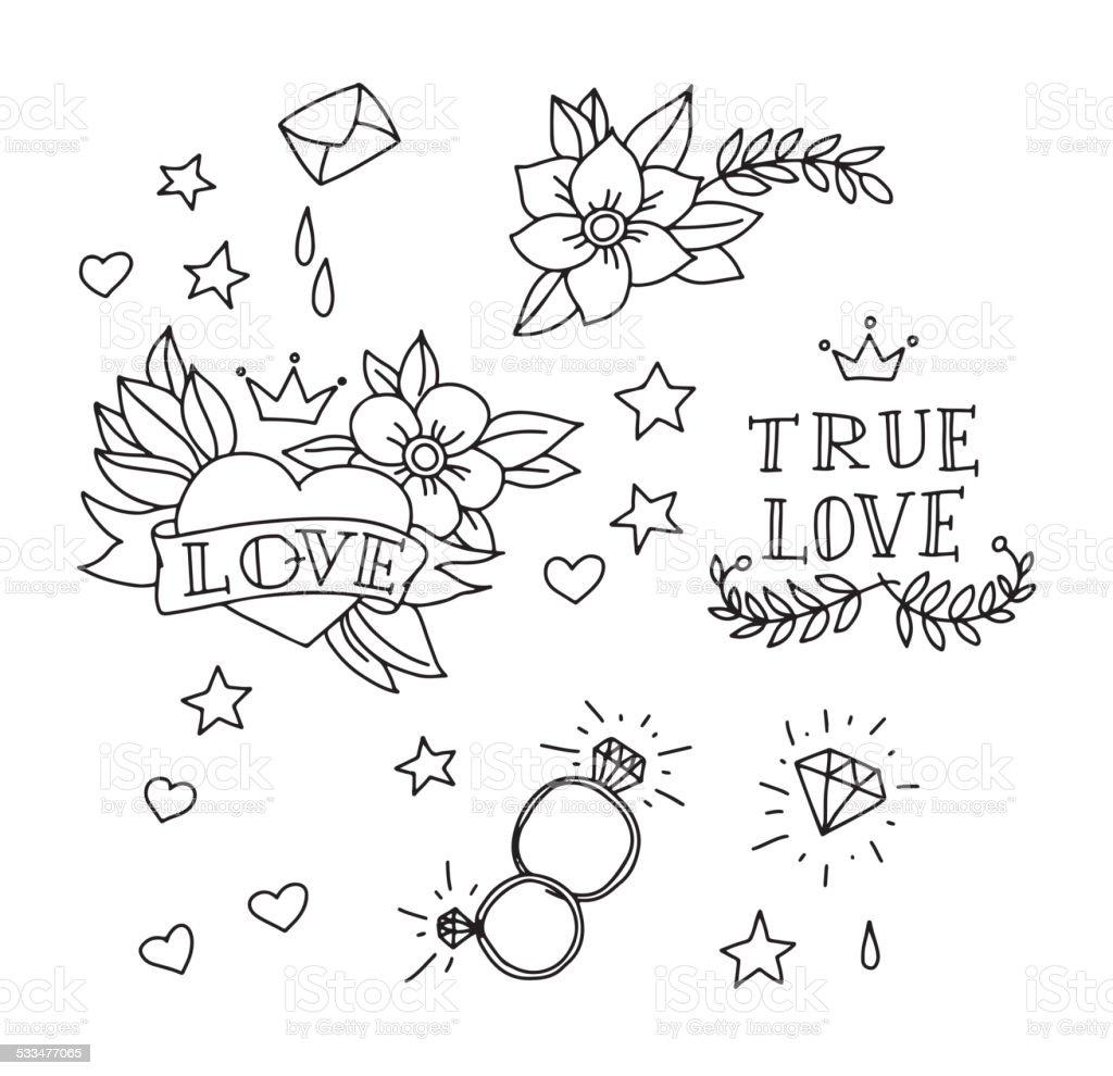 Set of hand drawn tattoo elements vector art illustration