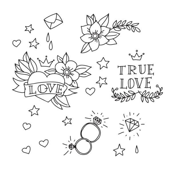 Conjunto de elementos dibujados a mano tatuaje - ilustración de arte vectorial