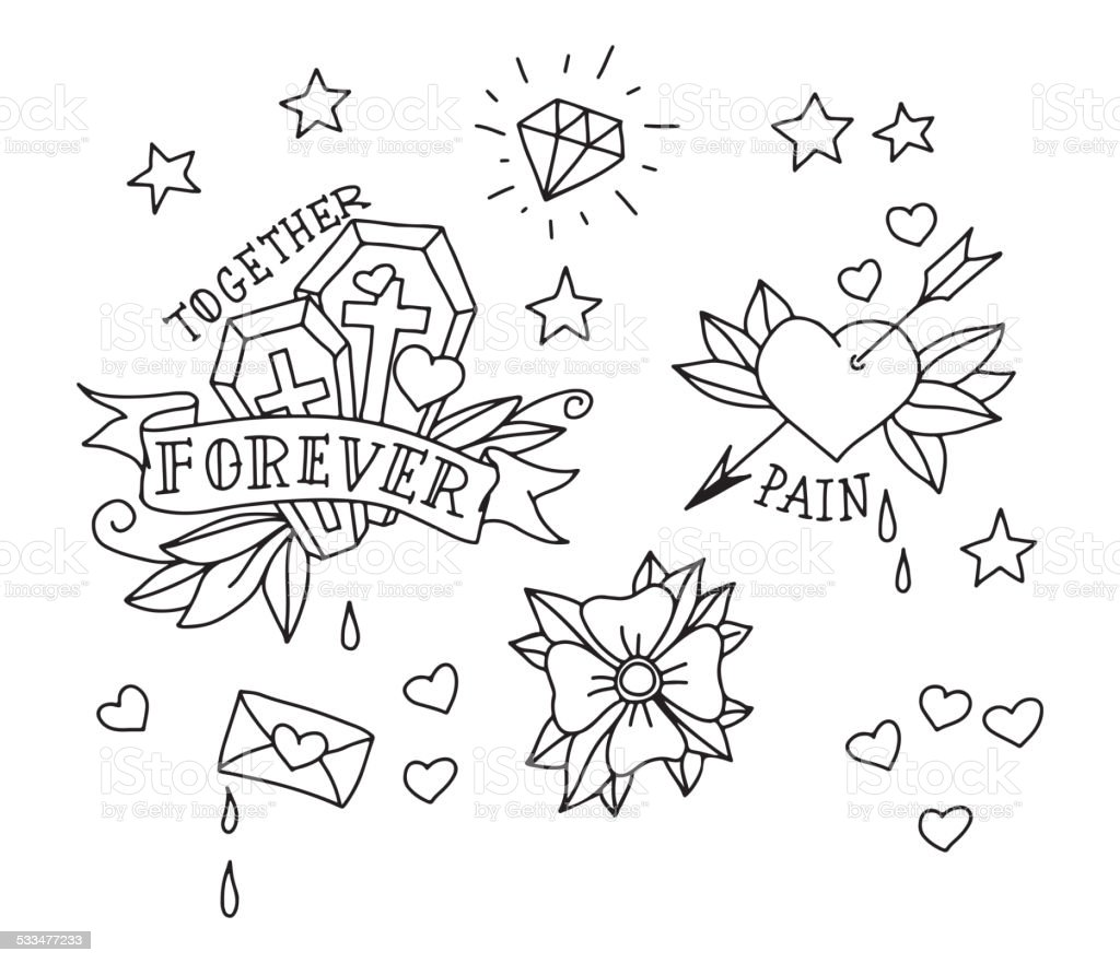 Set of hand drawn tattoo elements vector art illustration