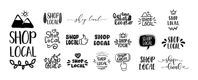 SHOP LOCAL set of hand drawn text and doodles badges, logo, icons.