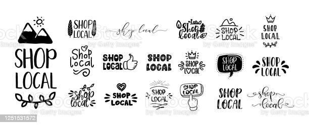손으로 그린 텍스트와 낙서 배지 로고 아이콘의 로컬 세트를 쇼핑 개체 그룹에 대한 스톡 벡터 아트 및 기타 이미지