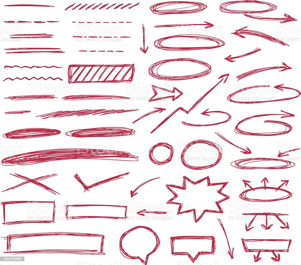 Set of hand drawn text correction elements. vector art illustration