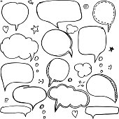 Set of hand drawn think and talk speech bubbles.