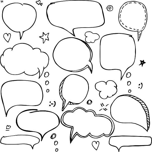 ilustraciones, imágenes clip art, dibujos animados e iconos de stock de set of hand drawn think and talk speech bubbles. - marcos de garabatos y dibujados a mano
