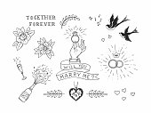 Set of hand drawn traditional tattoo elements. Vintage vector design for stickers ar prints