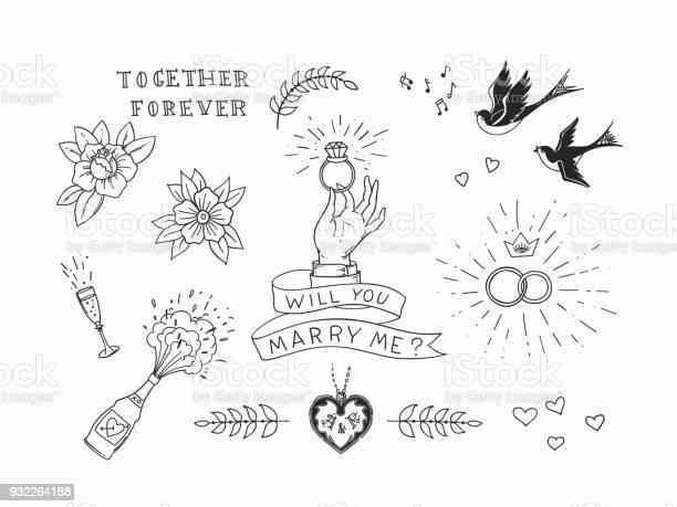 Set of hand drawn traditional tattoo elements vintage vector design vector id932264188?b=1&k=6&m=932264188&s=612x612&h=7664otrasbjyszvvpkua6qpj gjiaix0jt91hecdmma=