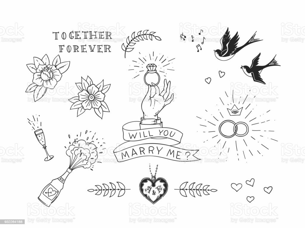 Conjunto de elementos de dibujado a mano del tatuaje tradicional. Diseño vector vintage para las etiquetas engomadas ar impresiones - ilustración de arte vectorial
