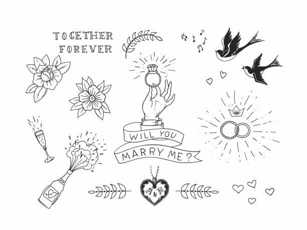 ilustrações de stock, clip art, desenhos animados e ícones de set of hand drawn traditional tattoo elements. vintage vector design for stickers ar prints - tatuagem