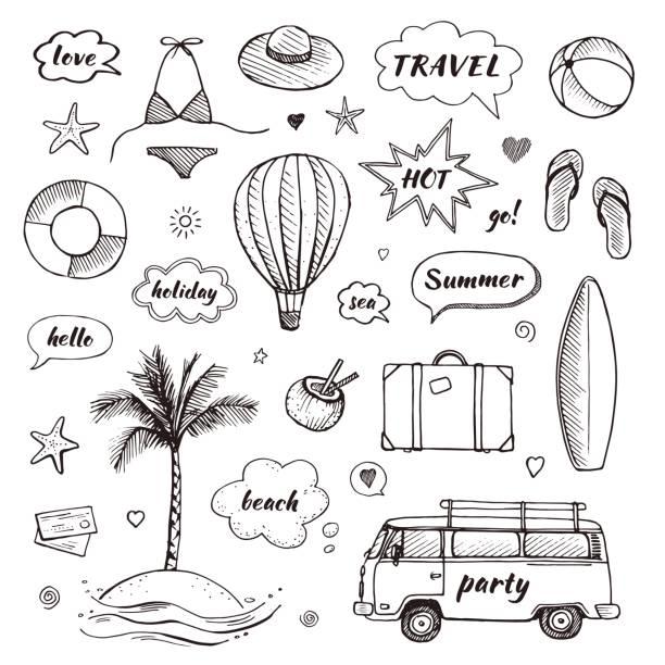 Satz von handgezeichneten Travel Doodle. Tourismus und Sommer skizzieren Sie mit Reisen Elemente und Sprechblasen. Vektor-illustration – Vektorgrafik