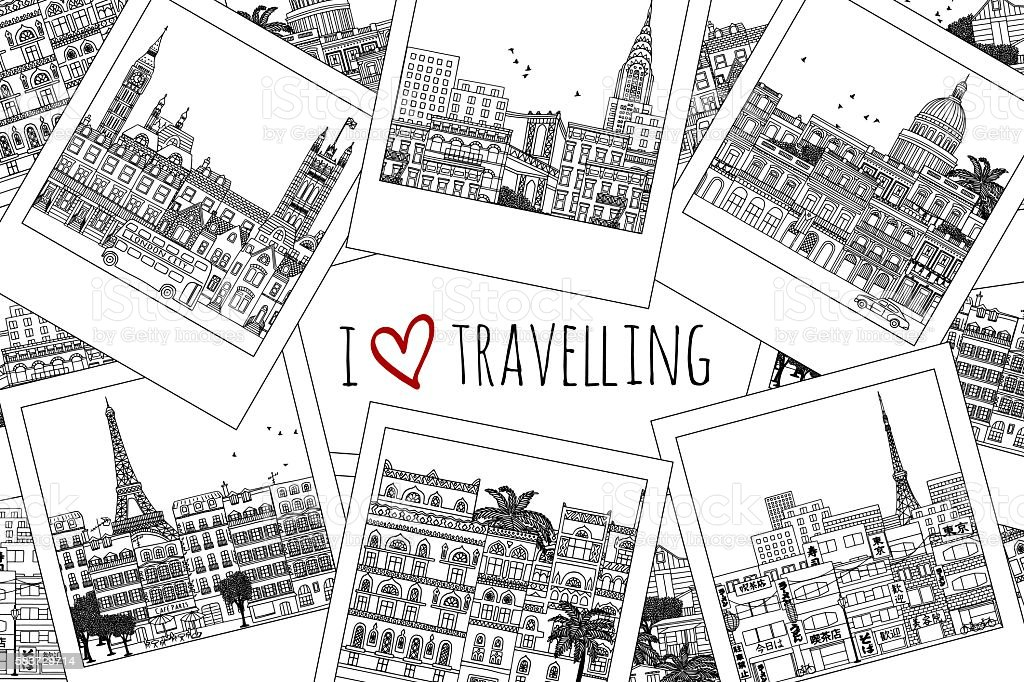 Set of hand drawn travel photographs royalty-free set of hand drawn travel photographs stock vector art & more images of adventure