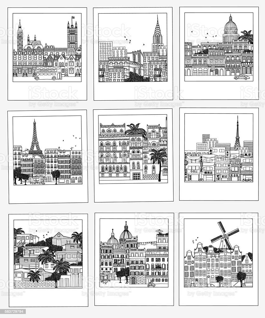 Set of hand drawn travel photographs - ilustración de arte vectorial