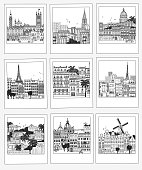 Set of hand drawn travel photographs