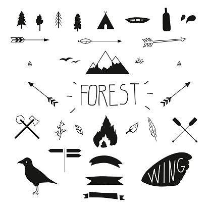 Set of hand drawn tribal design elements. Hike.