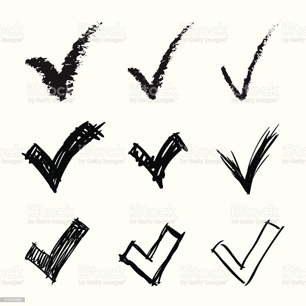 Set of hand drawn V signs, illustration vector art illustration