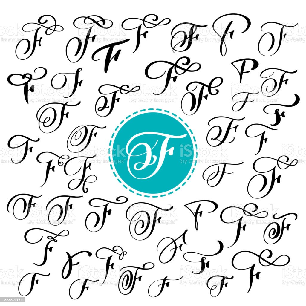 Set Of Hand Drawn Vector Calligraphy Letter F Script Font Isolated Letters Written With