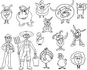 Set of Hand Drawn Vector Cartoon Farm Animals and Male and Female Farmers