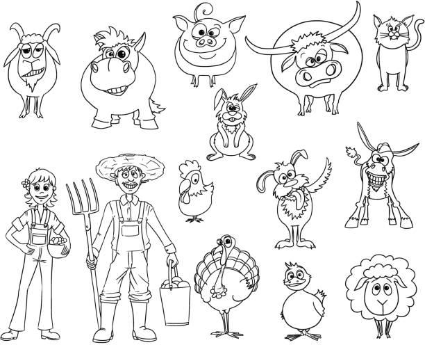 Set of Hand Drawn Vector Cartoon Farm Animals and Male and Female Farmers vector art illustration