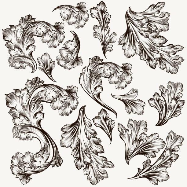 satz von handgezeichneten vektor filigrane wirbel für design - gartenskulpturkunst stock-grafiken, -clipart, -cartoons und -symbole