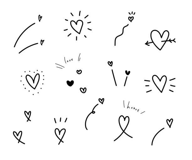 zestaw ręcznie rysowanych serc wektorowych. - bazgroły rysunek stock illustrations