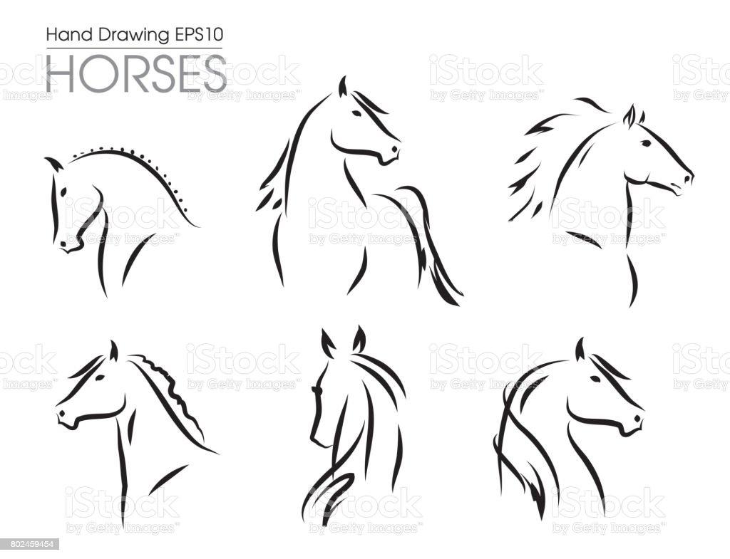 Conjunto de vector dibujado mano siluetas de caballos - ilustración de arte vectorial