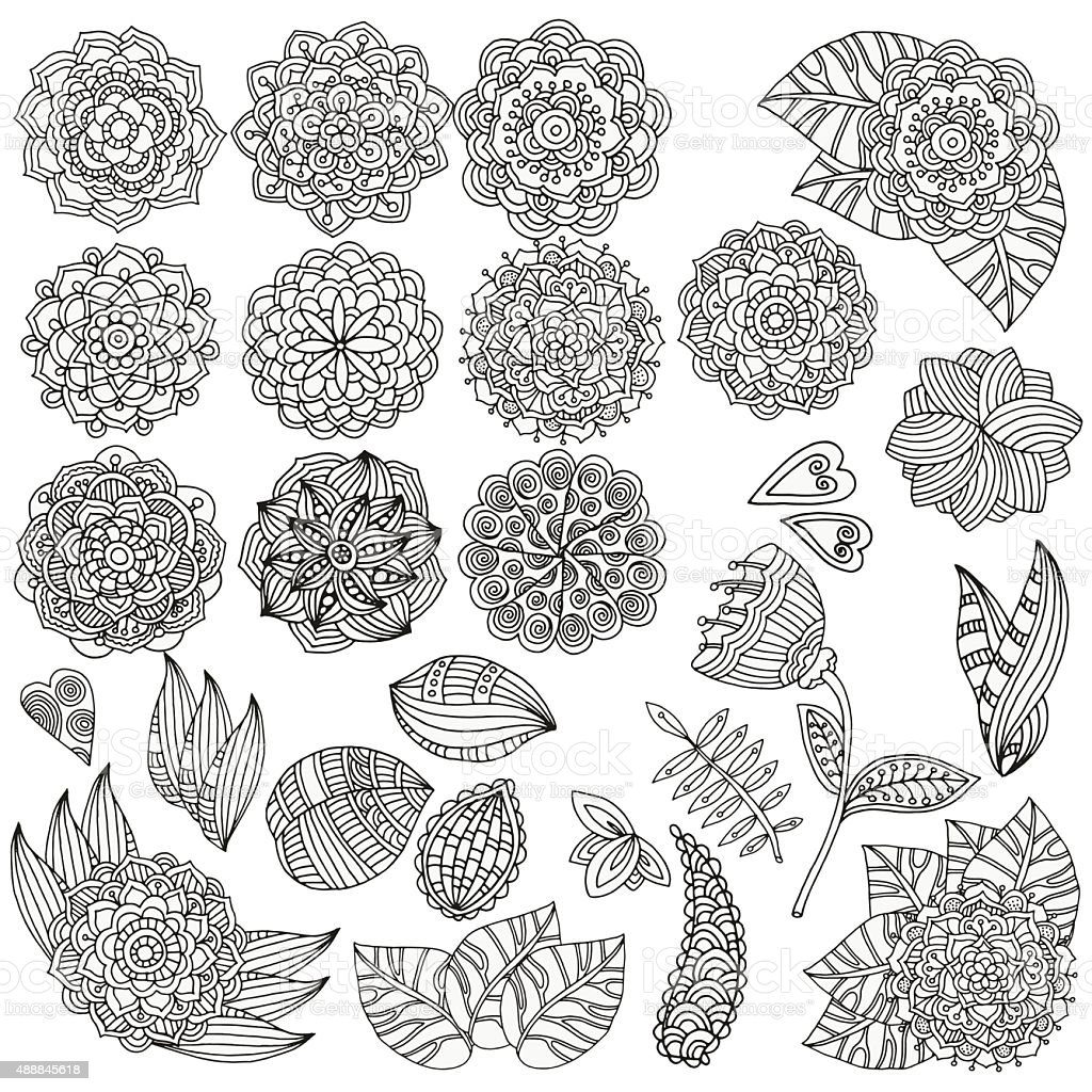 Set of hand drawn vector mandalas, flowers, leaves.