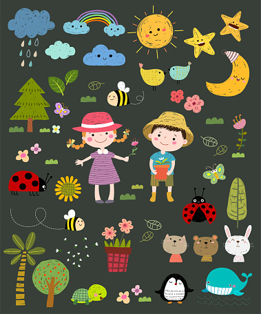 Set of hand drawn vector nature set. Cute kids with nature icons set in hand drawn illustration.