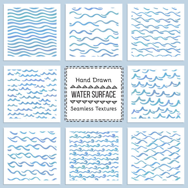 set of hand drawn vector textures of water surface - staw woda stojąca stock illustrations
