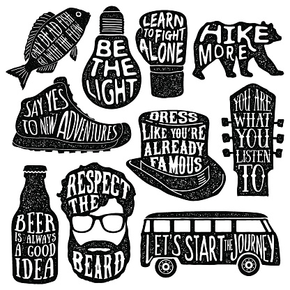 set of hand drawn vintage labels with textured illustrations