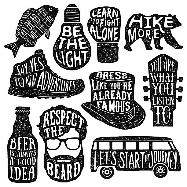 ilustraciones, imágenes clip art, dibujos animados e iconos de stock de set of hand drawn vintage labels with textured illustrations - moda hipster