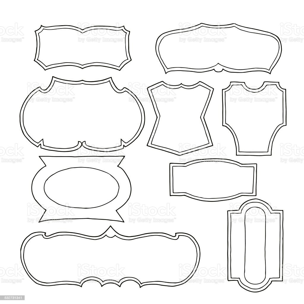 set of hand drawn vintage logo shapes stock vector art
