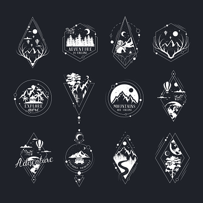 Set of hand drawn wanderlust badges and labels with forest trees, mountains, globe, moon and stars. Vector isolated adventure prints. Geometric frames for posters and tattoo.