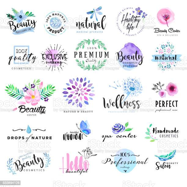 Set of hand drawn watercolor labels and badges for beauty vector id533894126?b=1&k=6&m=533894126&s=612x612&h=jvj4kc9kzw2wqj0egctsw3wrp1mj0ynlwgmo2tw5s3m=