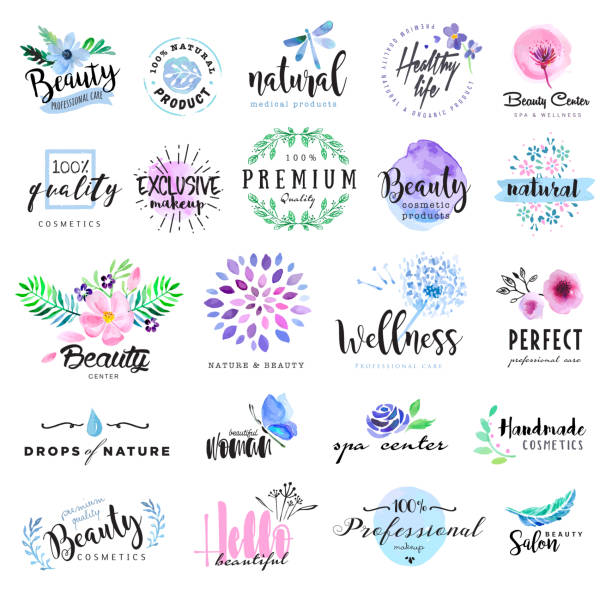 set of hand drawn watercolor labels and badges for beauty - vintage nature stock illustrations, clip art, cartoons, & icons