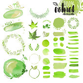 Set of hand drawn watercolor natural elements