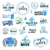 Set of hand drawn watercolor signs and elements of water