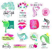 Set of hand drawn watercolor signs for beauty and cosmetics. Vector illustrations for graphic and web design, for cosmetic products, natural products, hair care, makeup, beauty center, spa and wellness.
