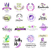 Set of hand drawn watercolor signs for beauty and cosmetics