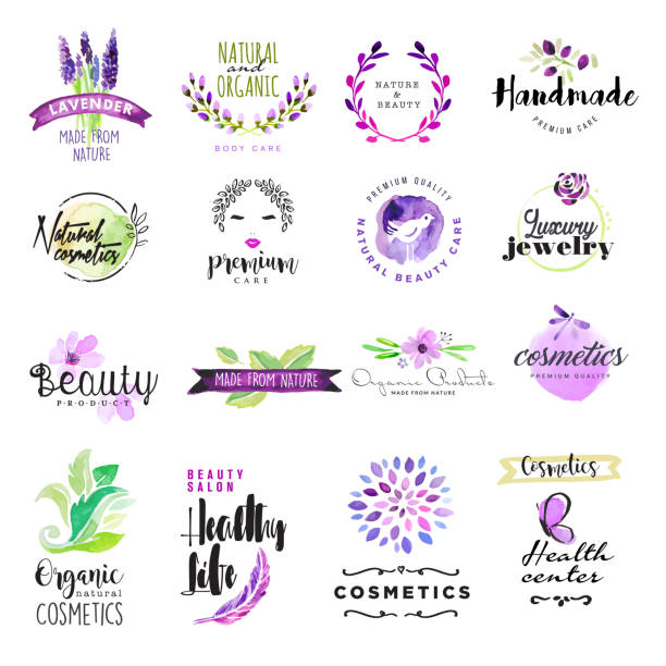 set of hand drawn watercolor signs for beauty and cosmetics - beauty stock illustrations, clip art, cartoons, & icons
