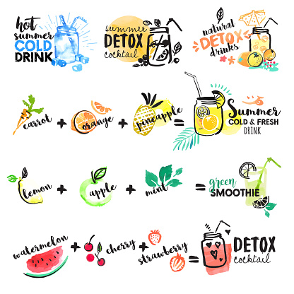 Set of hand drawn watercolor signs of summer drinks