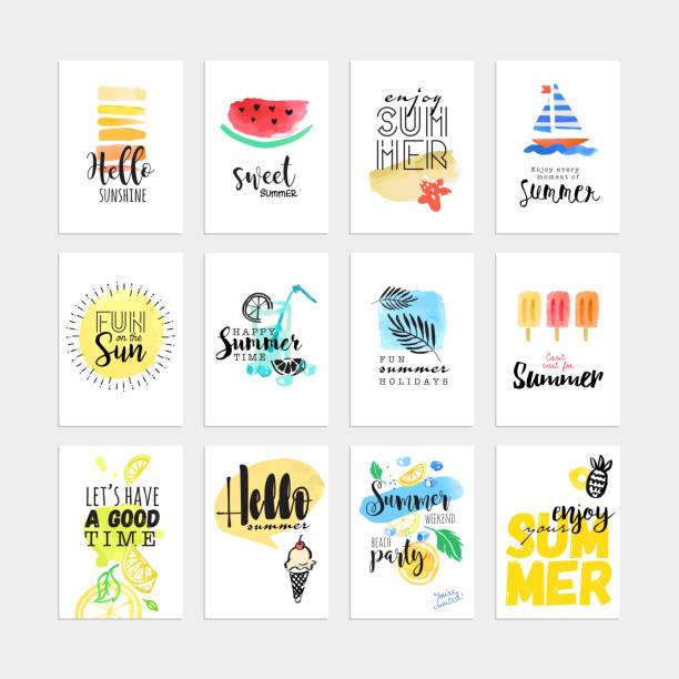 ilustraciones, imágenes clip art, dibujos animados e iconos de stock de conjunto de dibujado a mano acuarela tarjetas y banners de verano - verano