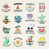 Set of hand drawn watercolor summer emblems.