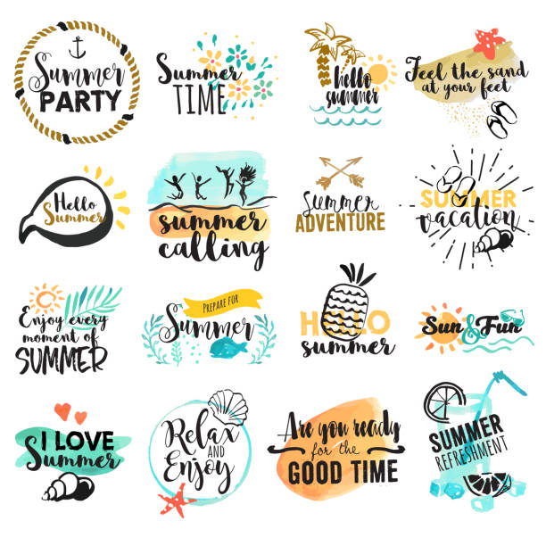 Set of hand drawn watercolor summer signs and banners vector art illustration
