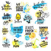 Set of hand drawn watercolor summer signs. Vector illustrations for summer holiday, travel agency, restaurant and bar, menu, sea and sun, beach vacation and party.