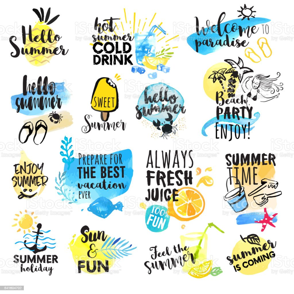 Set of hand drawn watercolor summer signs vector art illustration