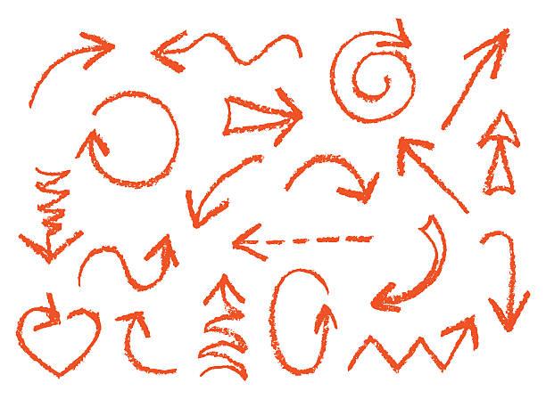 stockillustraties, clipart, cartoons en iconen met set of hand drawn wax crayon fun red arrows. - baby dirty