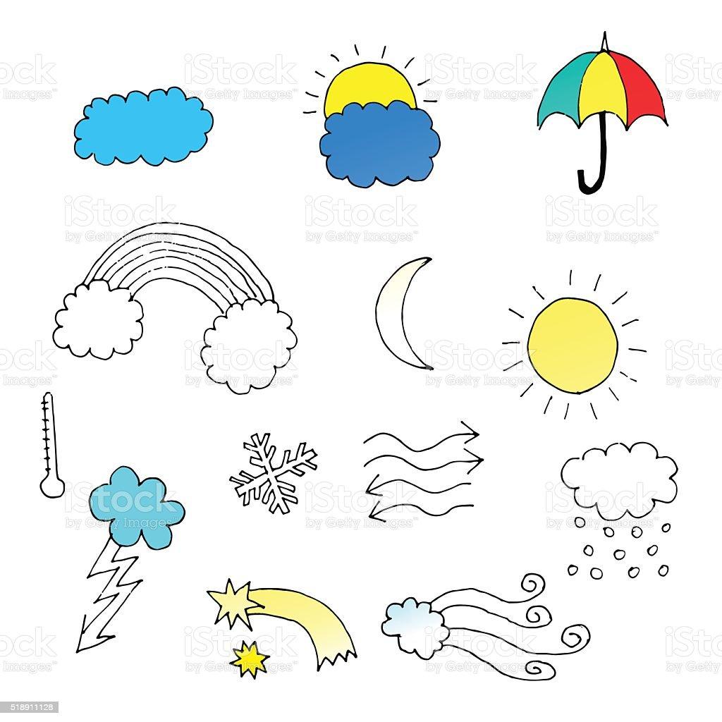 Conjunto de desenhado à mão ícones de clima. - ilustração de arte em vetor