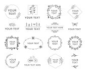 Set of hand drawn wedding branding with floral elements. Wreaths and frames for feminine design. Vector isolated.