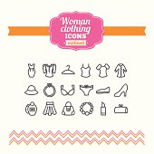 Set of hand drawn woman clothing icons