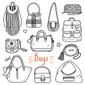 Set of hand drawn women accessories. Bags. Fashion collection. Black and white doodle illustration.